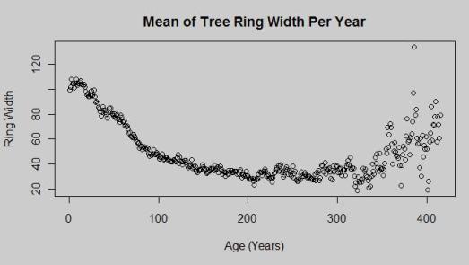 Yamal mean ring width per year